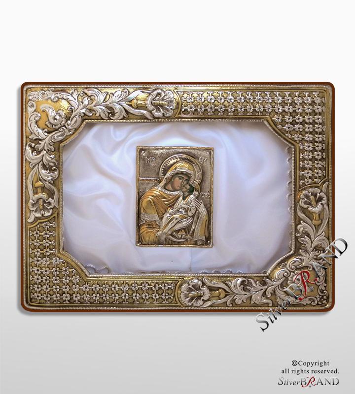 Ασημένια Στεφανοθήκη ψάθα με Παναγία