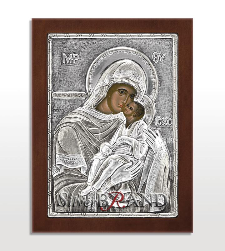 Παναγία Γλυκοφιλούσα (Ασημένια Εικόνα 12x9cm)