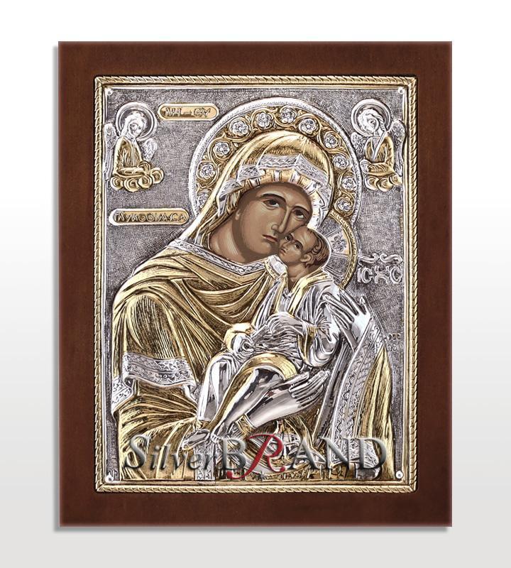 Orthodox Silver Icon Virgin Mary 17x14 Ασημένια Εικόνα Παναγία Γλυκοφιλούσα 17x14 Богородица c:35131071-240 B