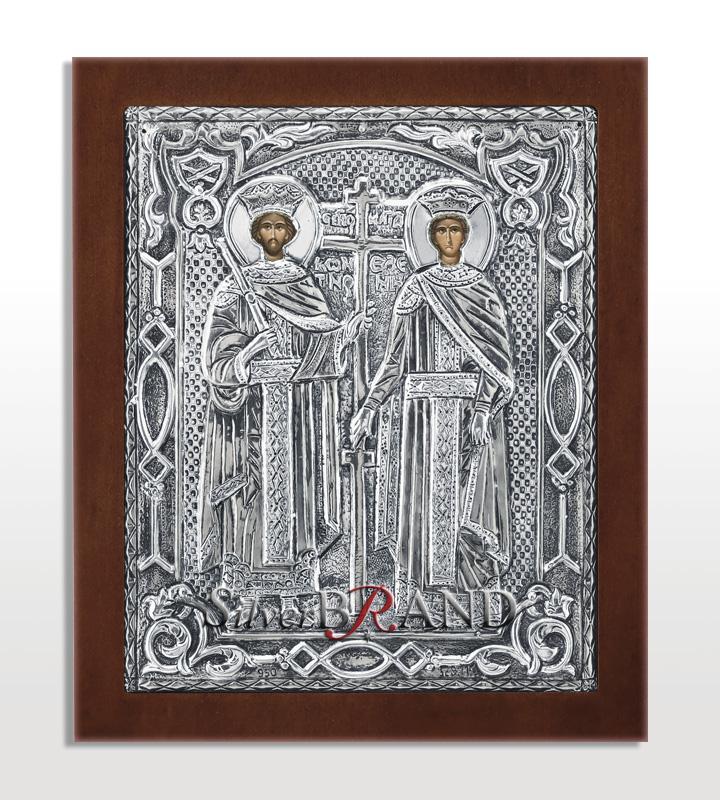 Άγιος Κων/νος και Ελένη (Ασημένια Εικόνα 18x15cm)