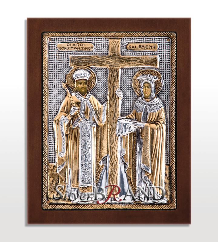 Άγιος Κων/νος και Ελένη (Ασημένια Εικόνα 20x16cm)