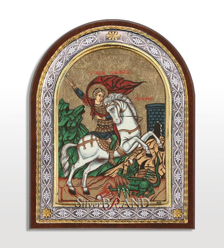 Άγιος Γεώργιος (Ασημένια Εικόνα - Μεταξοτυπία 23x18cm)
