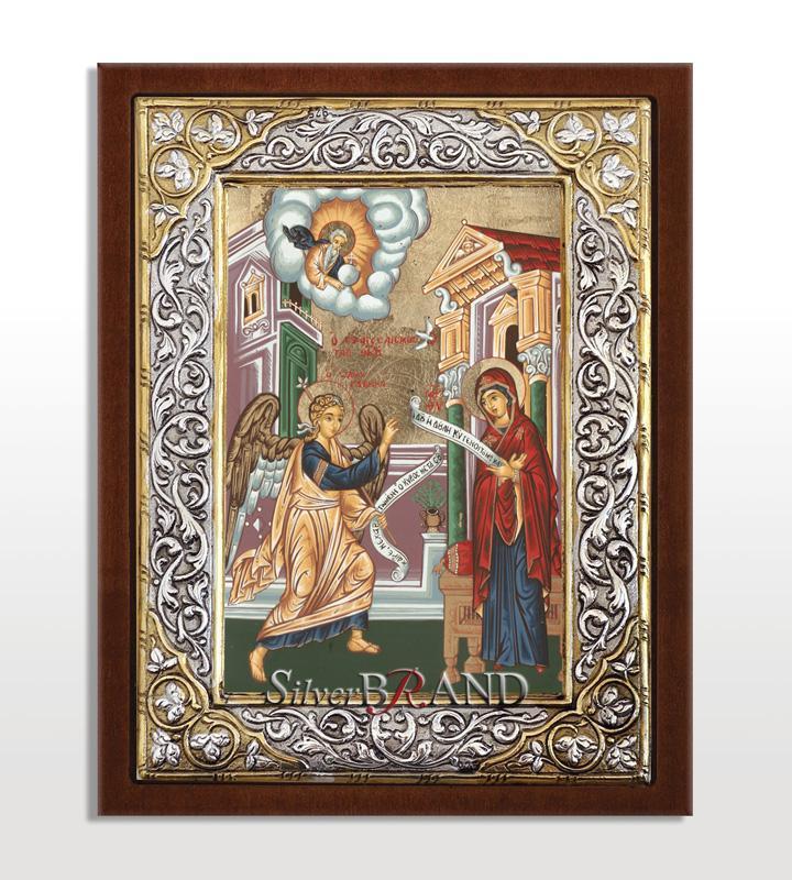 Greek Orthodox Silver Icon The Annunciation Ασημένια Εικόνα Ευαγγελισμός Θεοτόκου Благовещение Богородицы c:80241891-594SQ