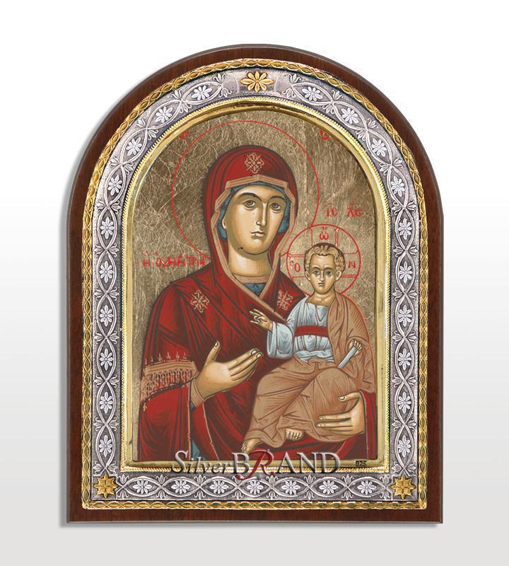 Greek Orthodox Silver Icon Virgin Mary 23x18 Ασημένια Εικόνα Παναγία  Οδηγήτρια 23x18 Богородица c 40221791 b4a4d00f9f4