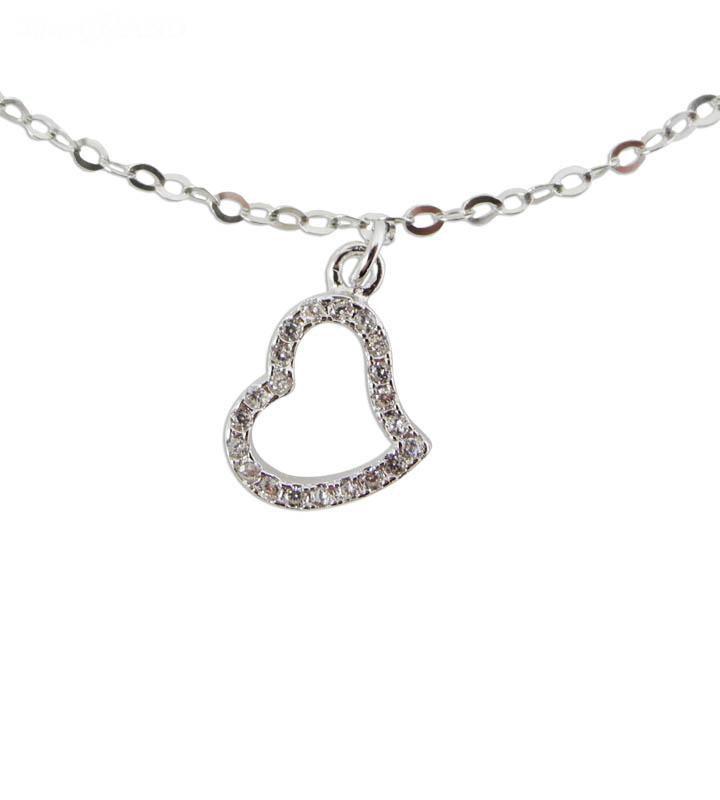 Ασημένιο Κόσμημα-Καρδιά με ασημένια αλυσίδα 1x1cm