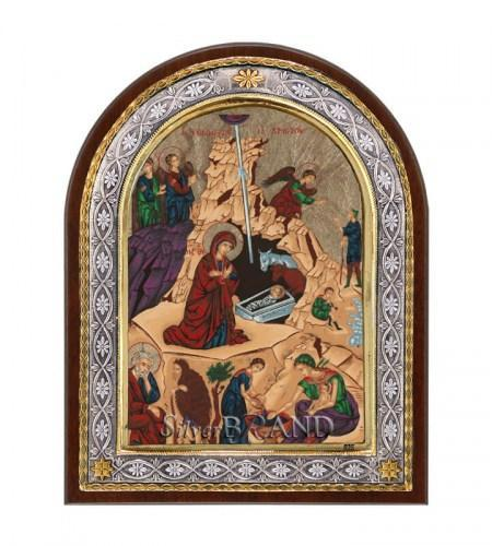 Greek Orthodox Silver Icon The Birth Of Christ (23x18) Ασημένια Εικόνα Η Γέννηση (23x18) Рождество c:18221791-535