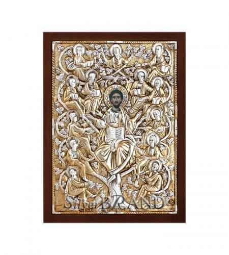 Greek Orthodox Silver Icon The Tree Of Life 18x13 Ασημένια Εικόνα Η Άμπελος 18x13 Лоза Истинная c:3317148-78B