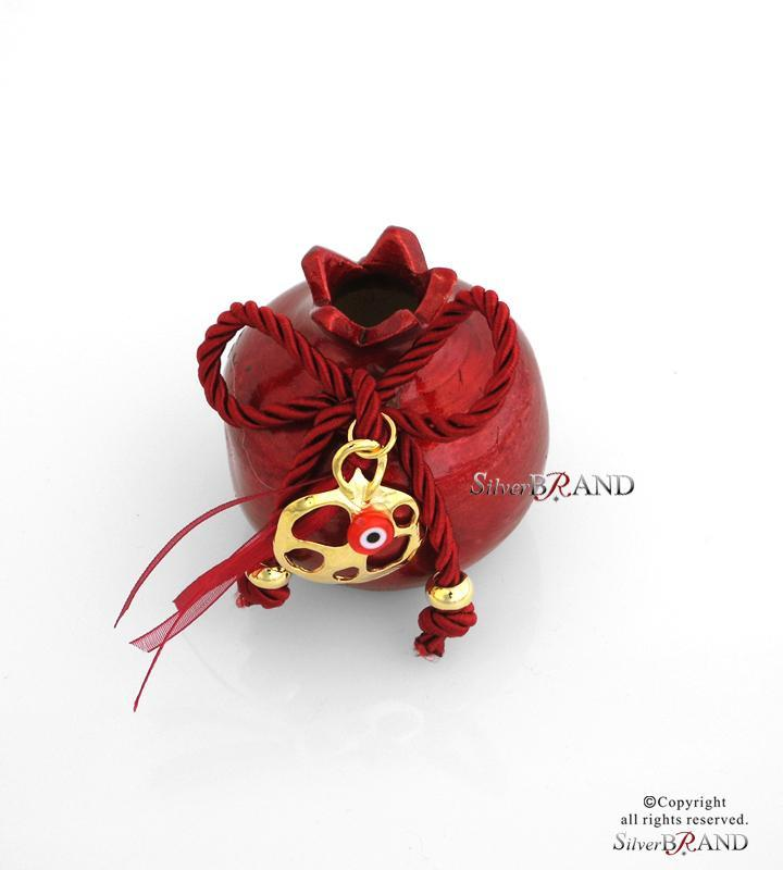 Γούρι Κεραμικό κόκκινο Ρόδι με μεταλλικά στοιχεία (7x6cm)